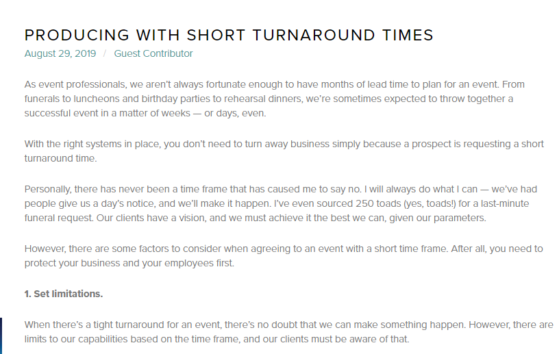 Producing with Short Turnaround Times
